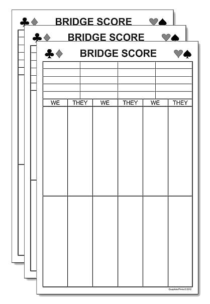 amazon com bridge score pads large tallies 3 pack tournament