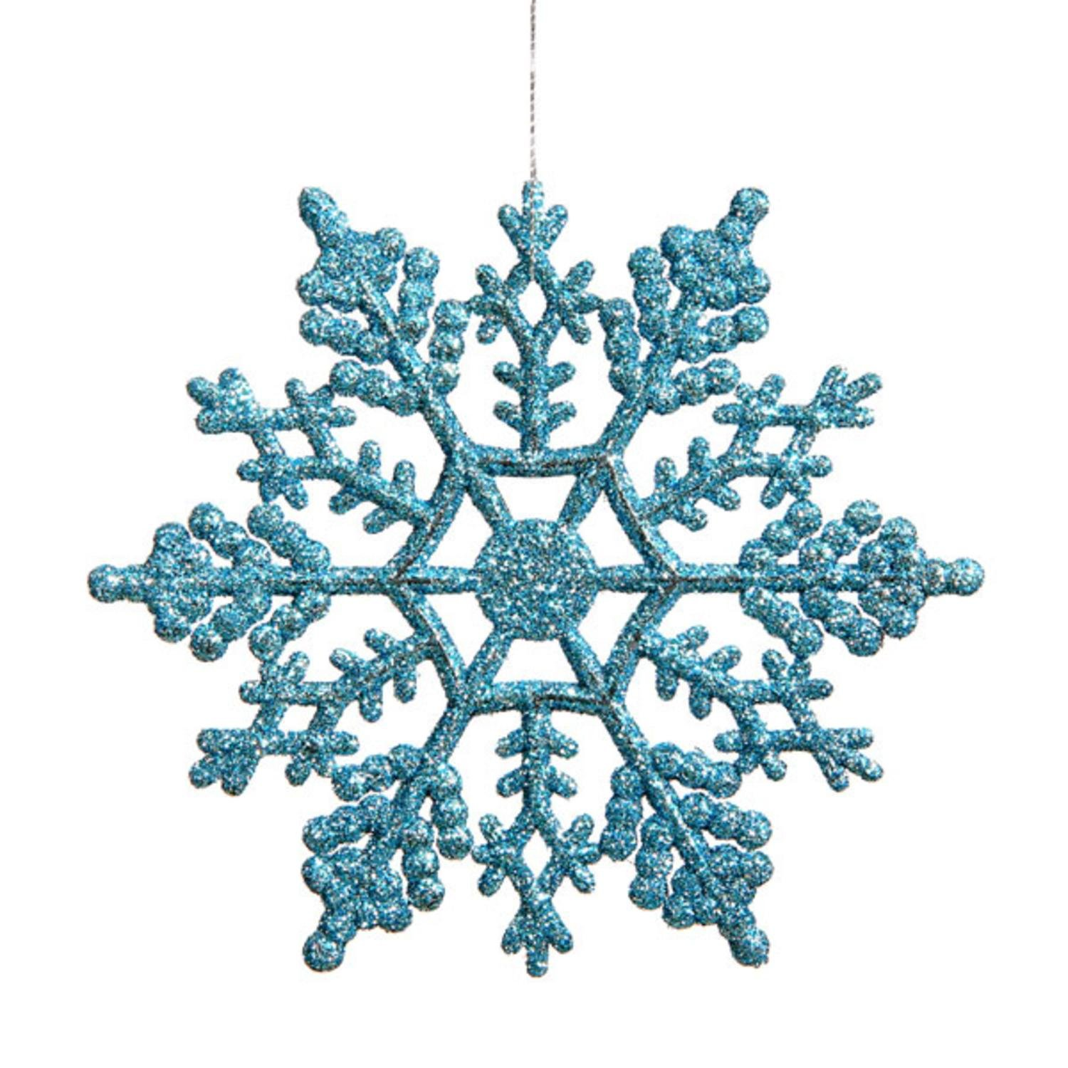 Amazon.com: Club Pack of 24 Turquoise Blue Glitter Snowflake ...