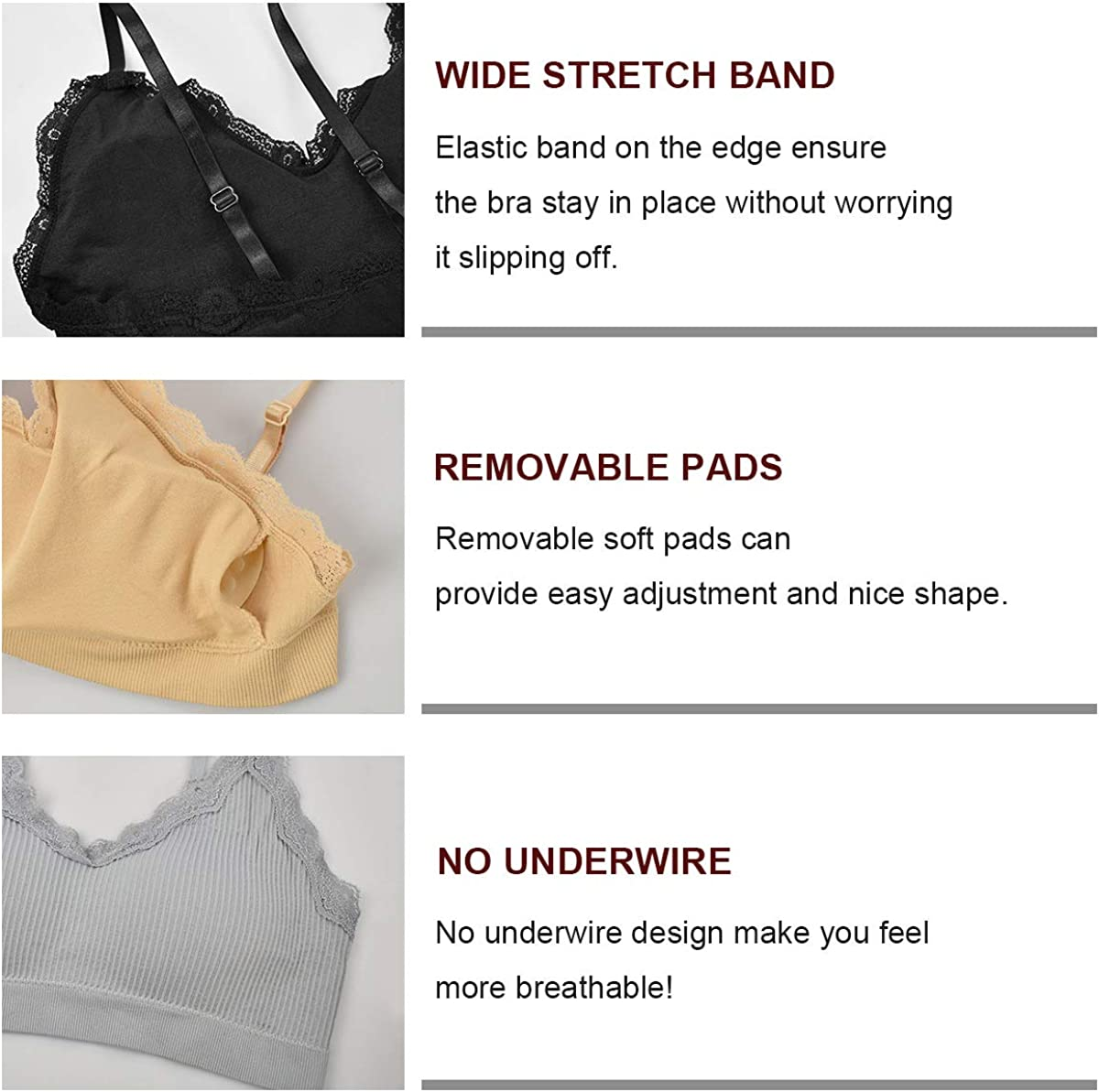 UMIPUBO 4 Pieces V Neck Tube Top Bra Seamless Bralette Straps Padded Camisole Bandeau Sports Bra Sleep Bra Vest Tops with Elastic Straps for Women Girls