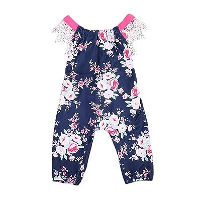 2a60896cc Infant Baby Girls One Piece Romper, Floral Lace Backless Jumpsuit Bowknot  Sunsuit Bodysuit (0