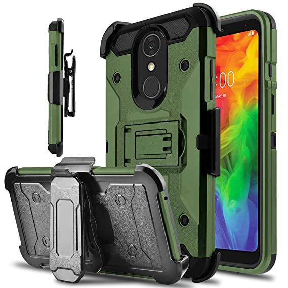 the best attitude d38ab 7776a LG Q7 Case, LG Q7 Plus Case, lovpec Kickstand [Heavy Duty Protection]  Swivel Belt Clip Holster Full Body Armor Protective Shockproof Phone Case  Cover ...