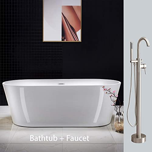 Woodbridge Acrylic Freestanding Bathtub Contemporary Soaking Tub Overflow and Drain BTA1701,with Brushed Nickel Faucet F0001BN
