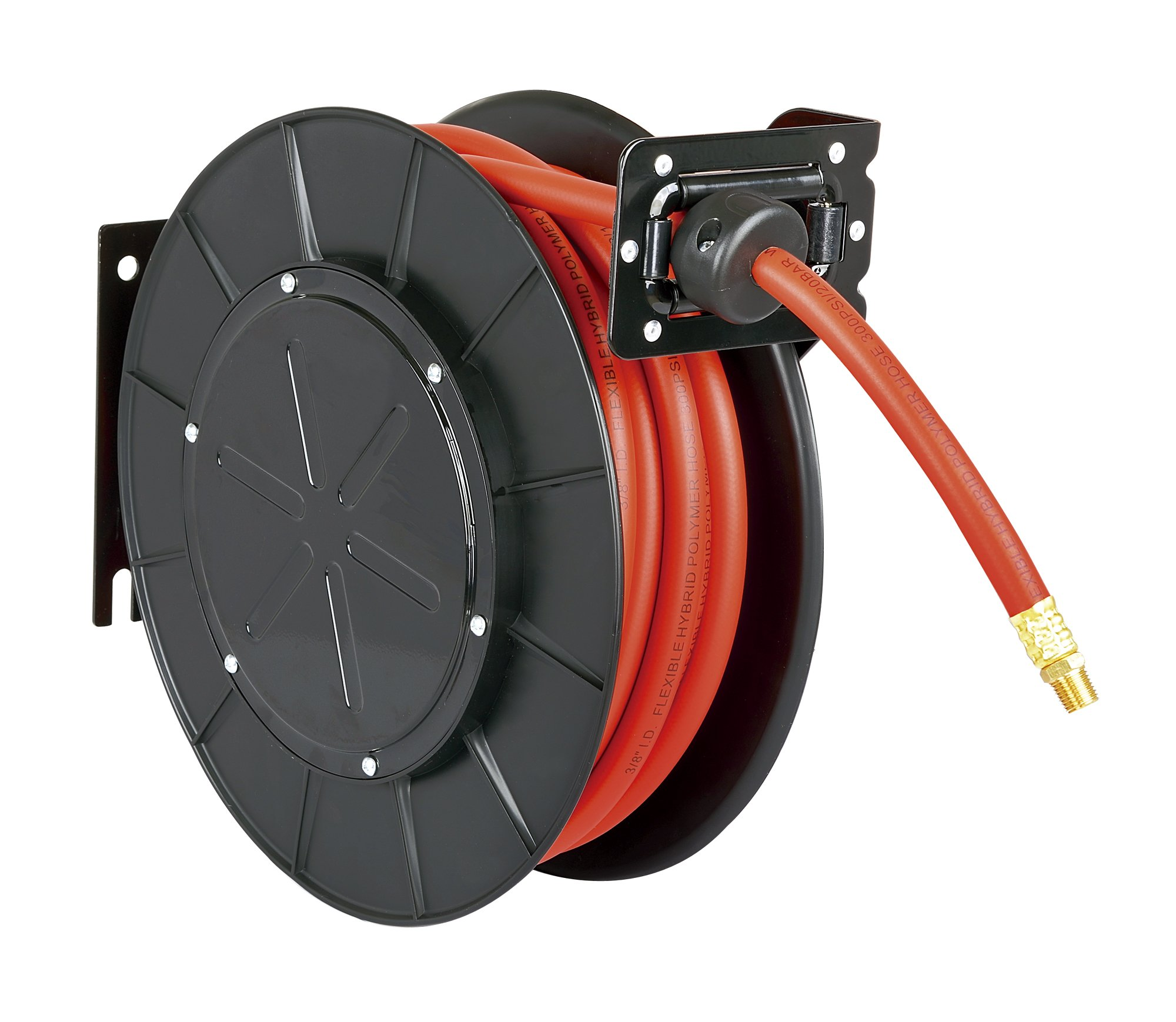 ReelWorks 28107153A Steel Retractable Air Compressor/Water Hose Reel with 3/8'' x 50' Hybrid Polymer Hose, Max. 300 psi