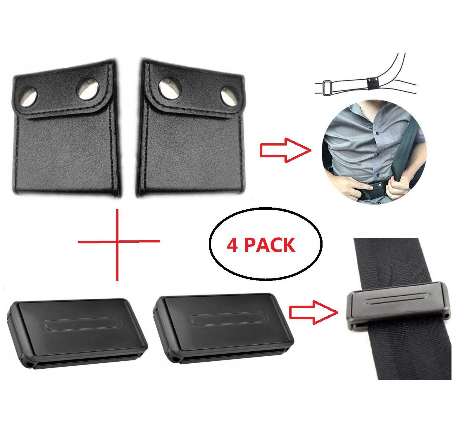 Car Seat Belt Adjuster Seatbelt Clips Smart Adjust Seat Belts Comfort Auto Shoulder Neck Protector Locking Clip Cover, Vehicle Car Seat Belt Safety Positioner (2+2 Pack, Black)