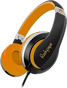 ROCKPAPA I22 Foldable Adjustable On Ear Headphones Without Mic for Kids/Adults iPhone iPad iPod Tablets MP3/4 DVD Computer Black/Orange