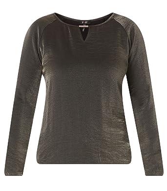 b70304730d7a94 Yesta Damen Shirt festlich Gummibund Schwarz Metallic Glitzer elegant  Langarm mit Schlitz große Größen