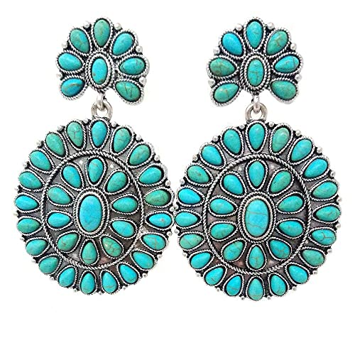 Western Concho Oval Turquoise Post Earring