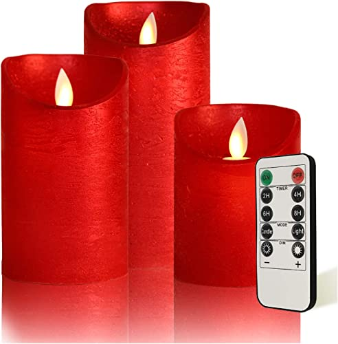 LED Moving Flame Flameless Candles D3 x H4 5 6 Battery Operated Real Wax Pillar Candles with Remote Control