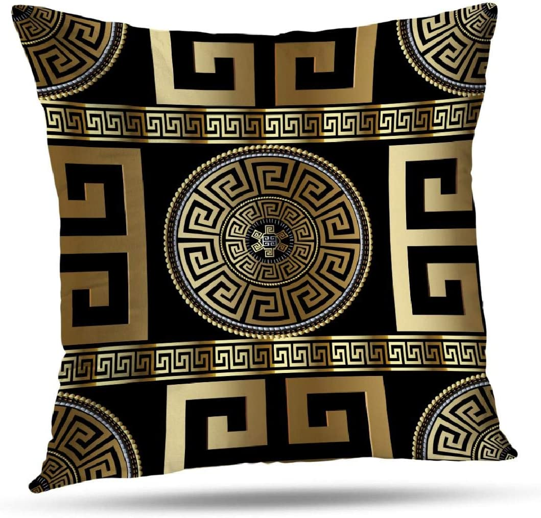Tyfuty Greek-Key Throw Pillow Covers, Pillowcases Modern Geometric Greek Pattern Gold Wallpaper with Key Cushion Use for Living Room Bedroom Sofa Office 18 x 18 inch