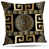 Tyfuty Greek-Key Throw Pillow Covers, PillowcasesModern Geometric Greek Pattern Gold Wallpaper with Key Cushion Use for Living Room Bedroom Sofa Office 18 x 18 inch