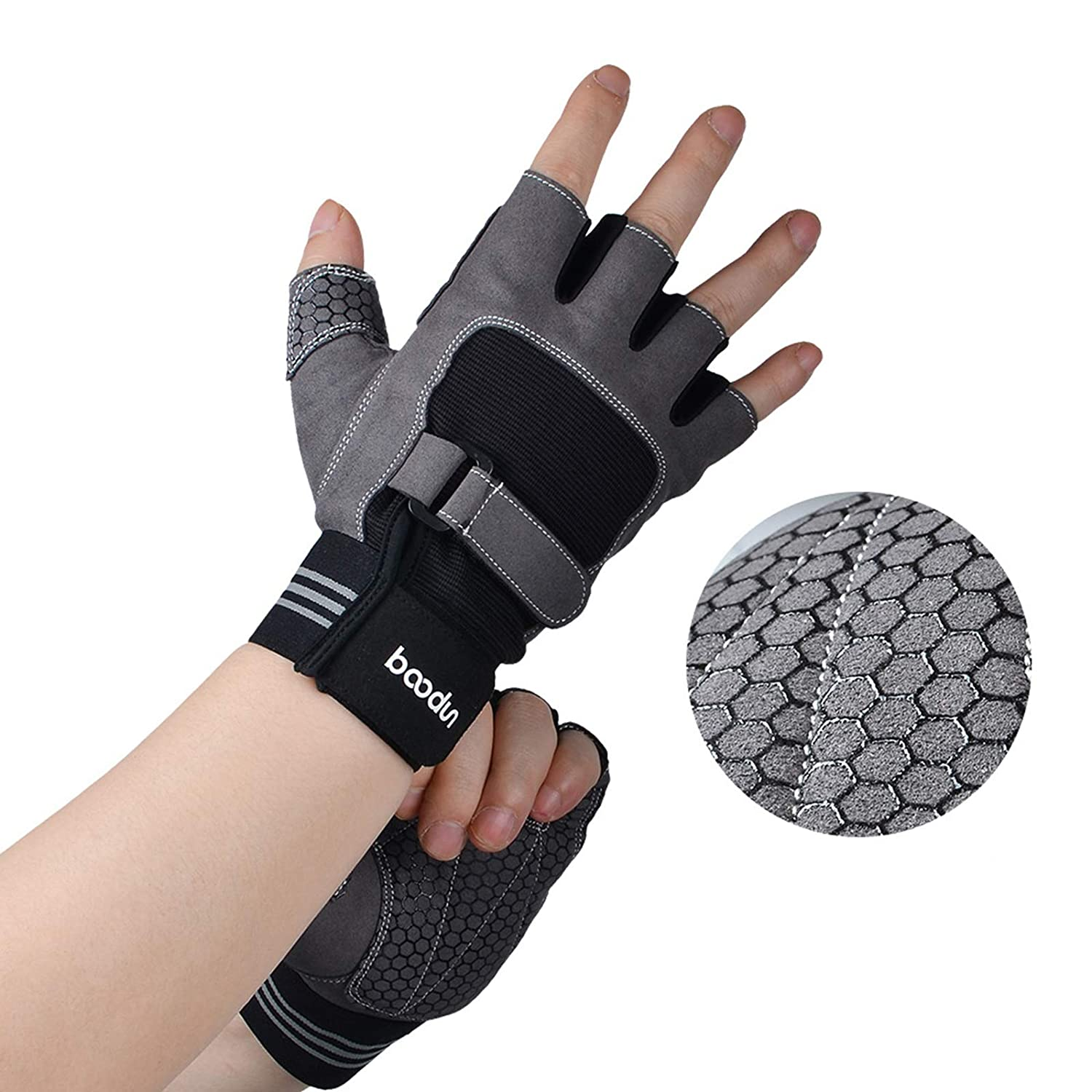 Aokarry Gloves Cycling Motocycle Gloves Microfiber Exercise Training Workout Fitness Gloves Fingerless Grey