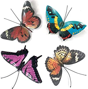 Metal Butterfly Wall Decor - Butterflies Art Decorations for Kitchen,Porch Wall,Outdoor Garden,Patio,Fence,Living Room (Set of 4)