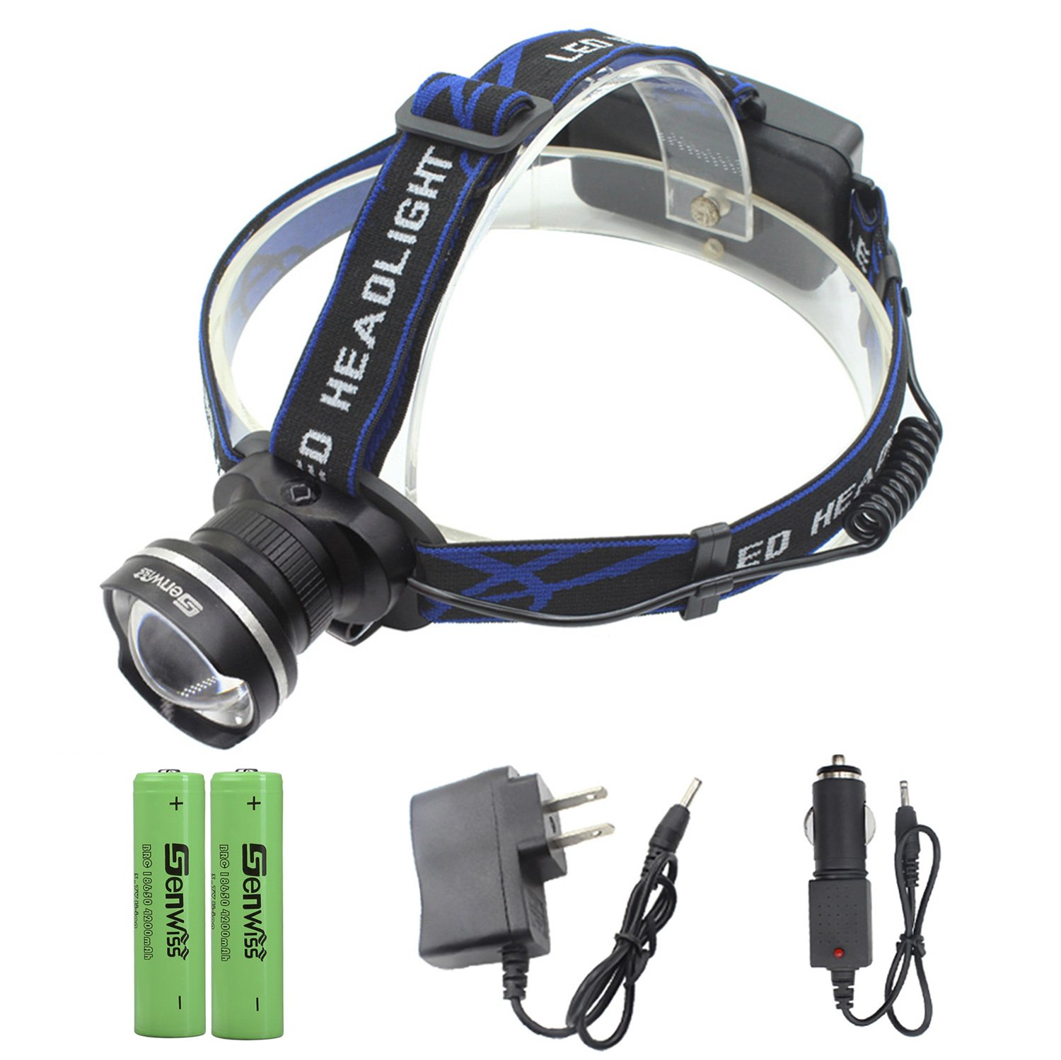 Genwiss Headlamp Flashlight Head lamp, 3000 Lumens XML T6 LED 3 Mode Waterproof Zoom Focus Front Light Super Bright Torch include 2 x 18650 Batteries and charger Camping Biking Hunting Fishing Riding