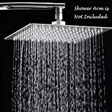 Rain Shower Head, 10 Inch Ultra Thin 304 Stainless Steel Solid Square Showerhead, High Pressure Rainfall Showerhead With Chrome Finish,Water Saving