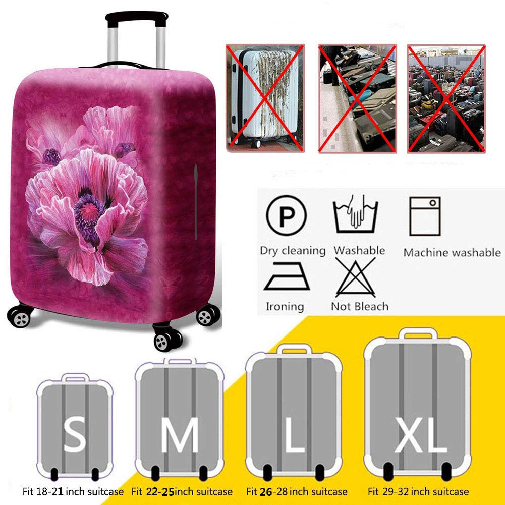 Floral Fabric Elastic Travel Luggage Cover,Double Print Fashion Washable Suitcase Protective Cover Fits 18-32inch Luggage