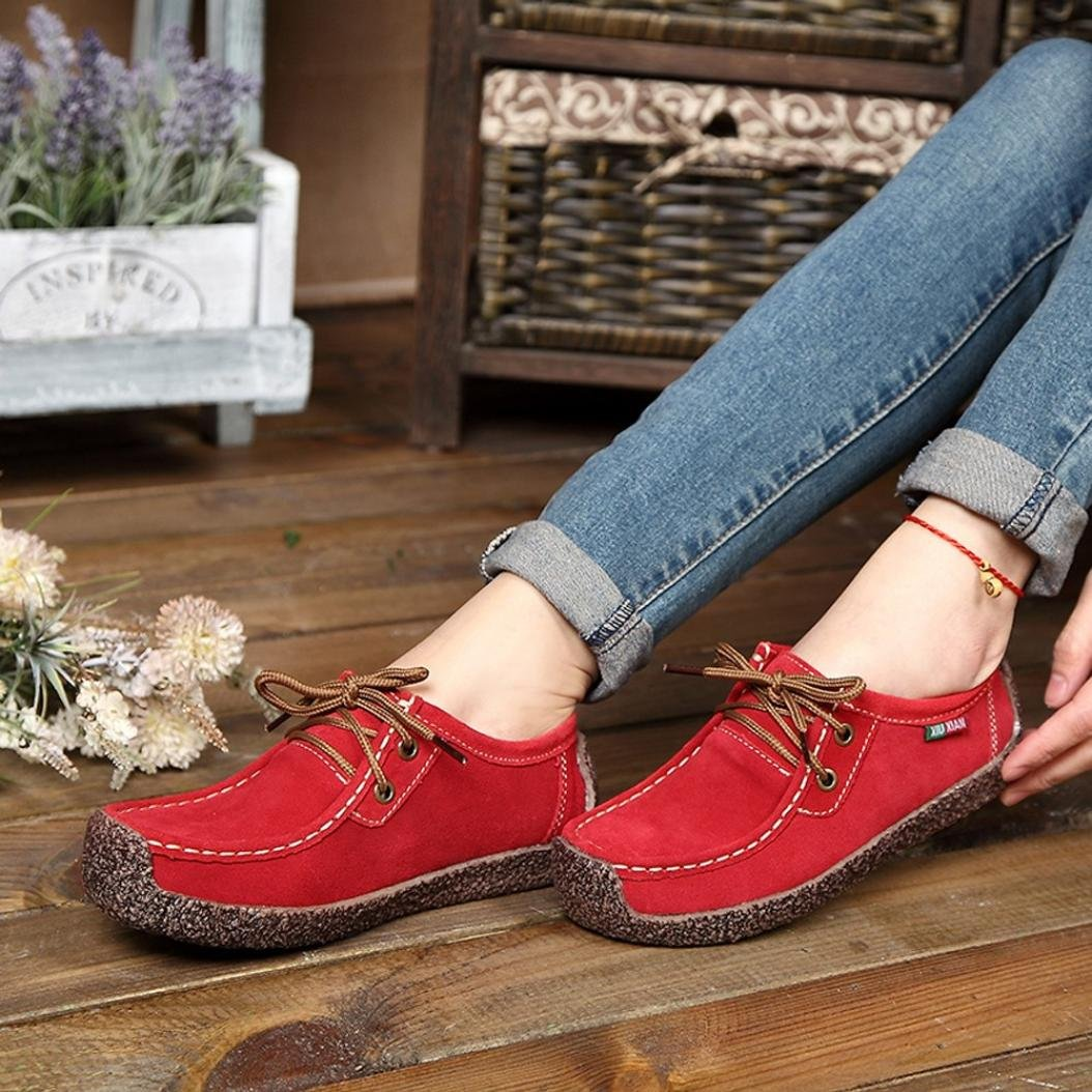 Neartime Clearance! Women Single Shoes, Fashion Women Flat Bottom Lace-Up Sneakers Square Toe Outdoor Peas Shoes by Neartime Sandals (Image #2)