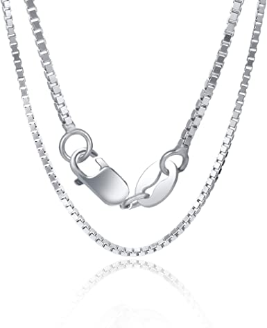 Orabelle 1mm Square Italian Box Link Chain Necklace 925 Sterling Silver for Women and Mens White Gold Plated 16-30 Lobster Claw Clasp