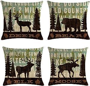 QINU KEONU Set of 4 Farmhouse Forest Large Tree Wildlife Deer Bear Elk Moose Cotton Linen Throw Pillow Case Cushion Cover Home Sofa Decorative 18 X 18 Inch(3) (8)