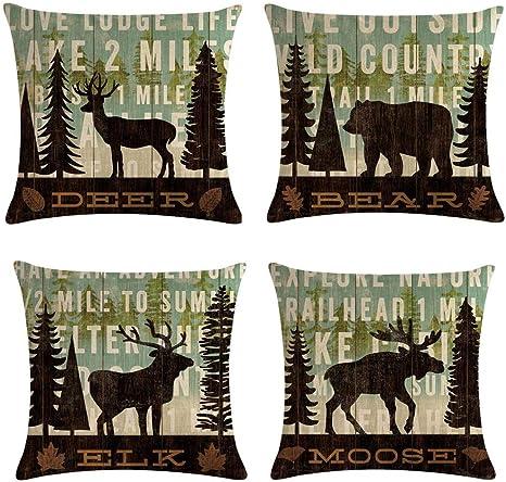 Qinu Keonu Set Of 4 Farmhouse Forest Large Tree Wildlife Deer Bear Elk Moose Cotton Linen Throw Pillow Case Cushion Cover Home Sofa Decorative 18 X 18 Inch 3 8 Home Kitchen
