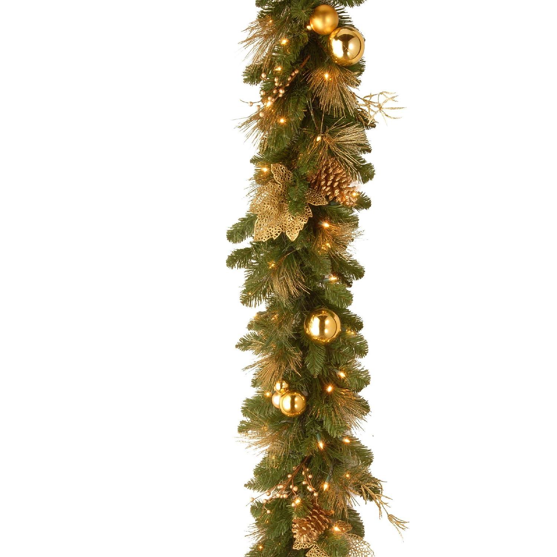 "Amazon 9 x 10"" Pre Lit Glittery Gold Dunhill Artificial"