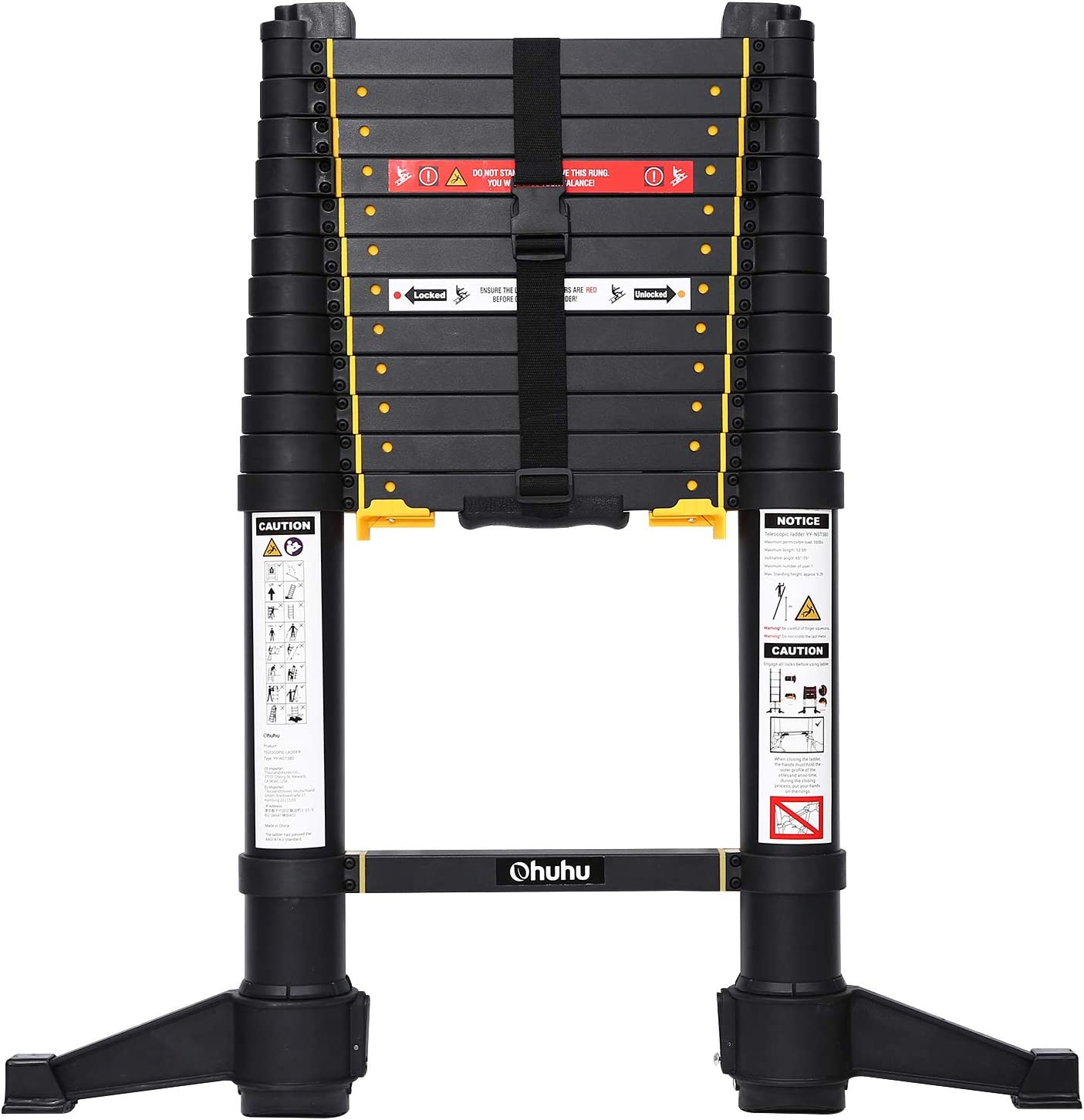 Ohuhu 12.5 FT Premium Aluminum Telescoping Ladder, ONE-Button RETRACTION ANSI Certified Patented Design Extension Ladder, 2020 All New Heavy Duty Extendable Telescopic Ladder with 330 Pound Capacity - -