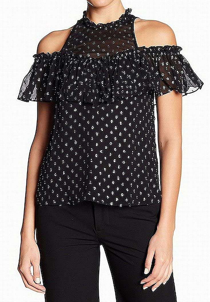 Rebecca Taylor Silver Ruffled Cold-Shoulder Blouse Silk
