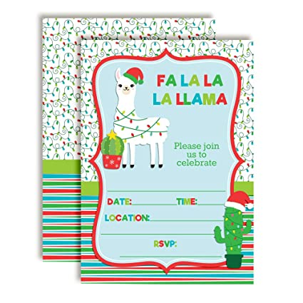 Christmas Birthday Party Invitations.Fa La La La Llama Themed Holiday Christmas Birthday Party Invitations 20 5 X7 Fill In Cards With Twenty White Envelopes By Amandacreation