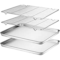 Wildone Baking Sheet & Cooling Rack Set [2 Sheets + 2 Racks], Stainless Steel Cookie Pan with Cooling Rack, Size 16 x 12 x 1 Inch, Non Toxic & Heavy Duty & Easy Clean …