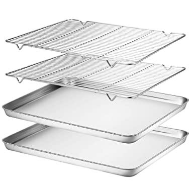 Wildone Baking Sheet & Rack Set [2 Sheets + 2 Racks], Stainless Steel Cookie Pan with Cooling Rack, Size 16 x 12 x 1 Inch, Non Toxic & Heavy Duty & Easy Clean
