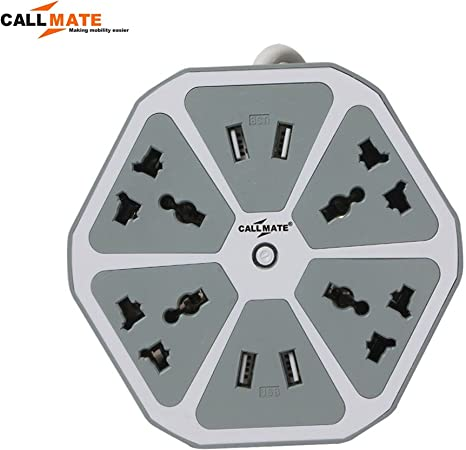 Callmate 4 USB Hexagon Surge Protector with 4 in 1 Cable  Grey    23x15x5 cm, Warranty:  6 Months