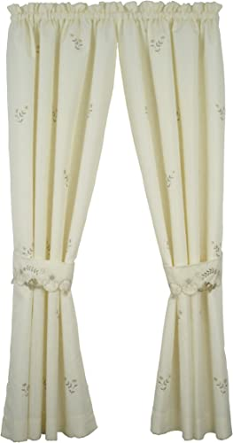 Today s Curtain Verona Reverse Embroidery Window Panel Pair and Tiebacks, 84-Inch, Ecru Antique