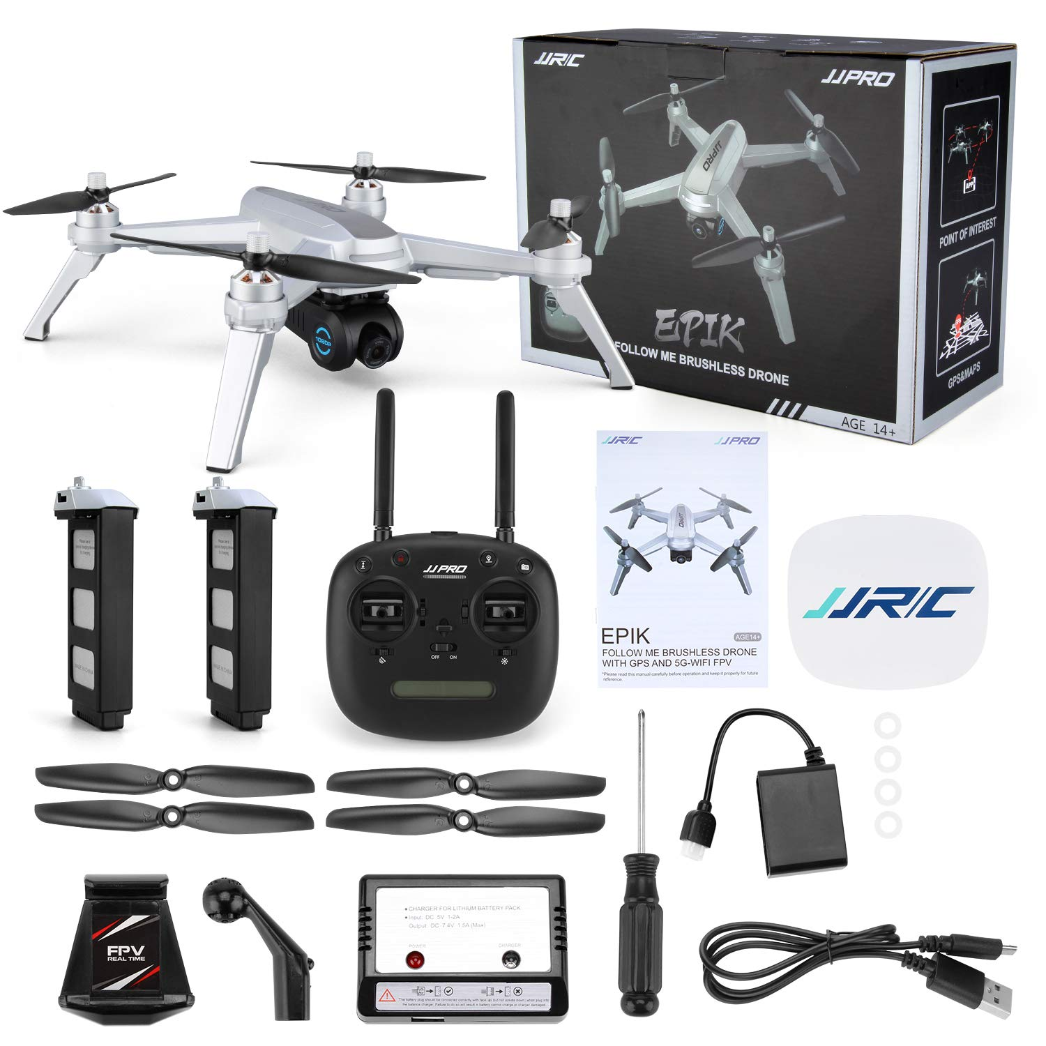 JJRC X5 FPV Drone with 1080P HD Camera Live Video Long Control Range GPS Return Home Quadcopter with Brushless Motor /& 90/°Adjustable Camera-Follow Me Altitude Hold Gray Flight Surround Me