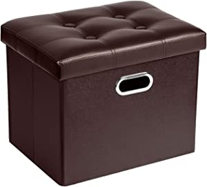 COSYLAND Ottoman with Storage Folding Leather Ottoman Footrest Foot Stool Brown Ottoman for Kids Room Small Rectangle Collapsible Bench Furniture with Handles Lid 17x13x13in