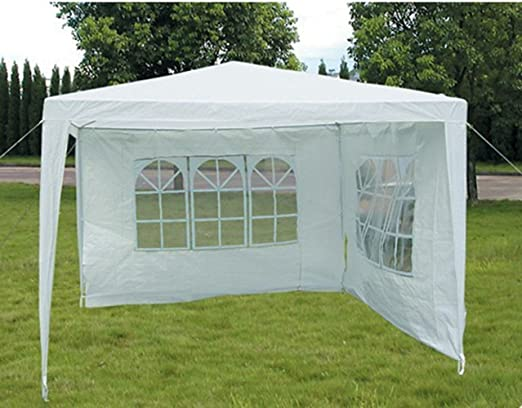 White Slimbridge Hartsfield 3 x 3 Metres Fully Waterproof Gazebo Tent Marquee Awning Canopy with 2 Zip Up Side Panels and Powder Coated Steel Frame for Outdoor Wedding Garden Party