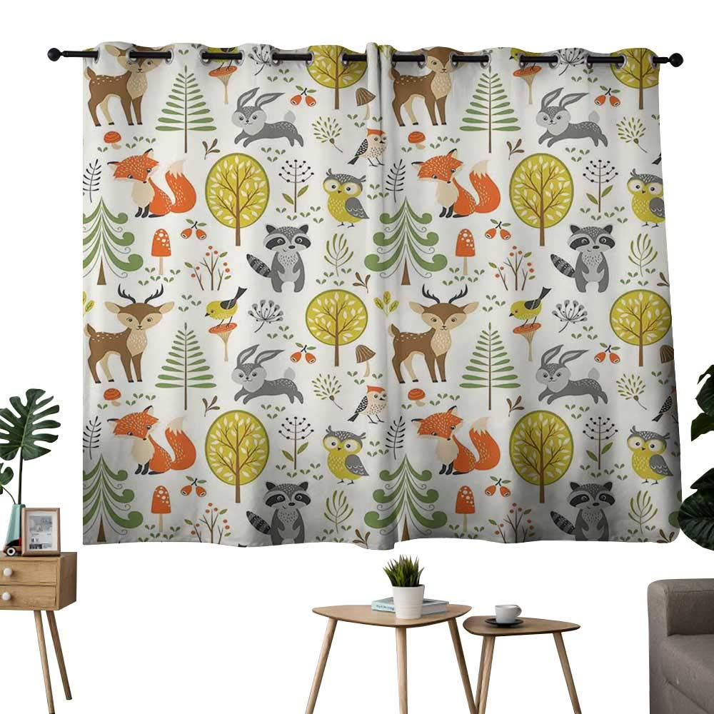 color06 42 x72 (W106cmxL182cm) NUOMANAN Bedroom Curtain Kids,Various Animals Riding on Train in The Park with Mountains Cartoon Style Illustration,Multicolor,Insulating Room Darkening Blackout Drapes for Bedroom 42 x45