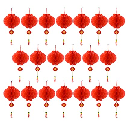 Coopay 20 Pieces Red Chinese Lanterns Decorations for