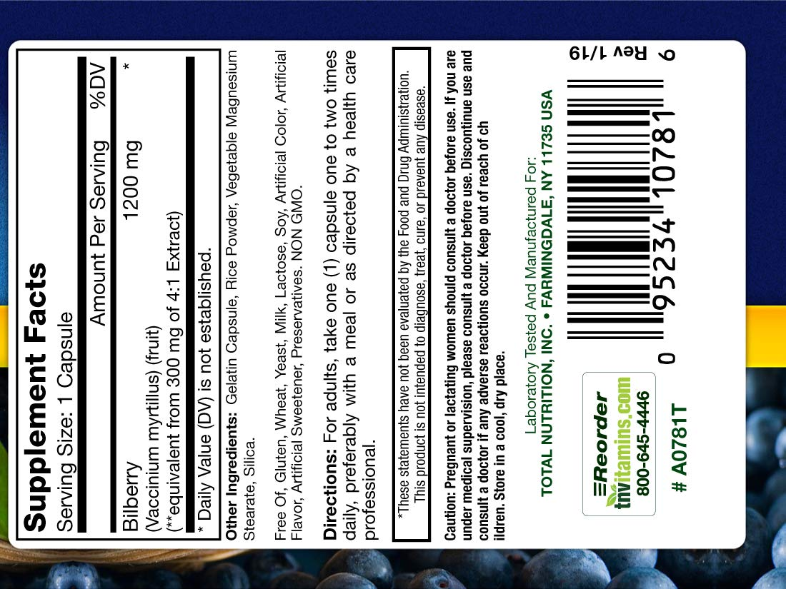 Bilberry 1200 Mg. Extract by TNVitamins 200 Capsules - (2x100)