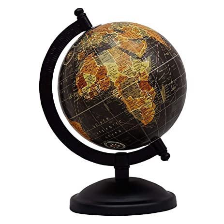 Décorative Rotating Globe World Geography Black Ocean Earth Home Décor  10.7u0026quot;