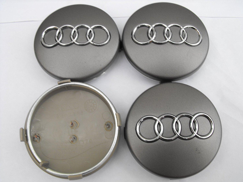 Conjunto de 4 tapas de centro para llantas de aleación con el logotipo de Audi, 60 mm, de color gris: Amazon.es: Coche y moto