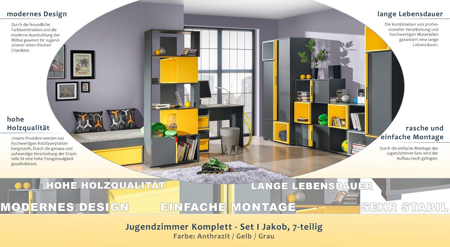 Jugendzimmer Komplett - Set I Jakob, 7-teilig, Farbe: Anthrazit ...