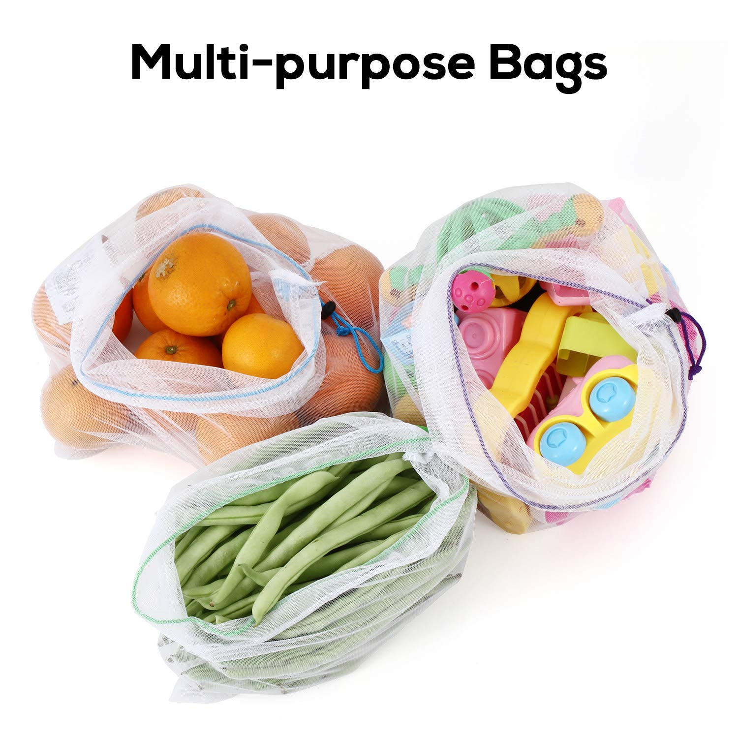 SPLF 12 Pcs Heavy Duty Reusable Mesh Produce Bags, Barcode Scanable See Through Food Safe Mesh Bags with Drawstring for Fruits, Vegetable, Food, Toys, Grocery Storage, Large Medium Small by SPLF (Image #5)