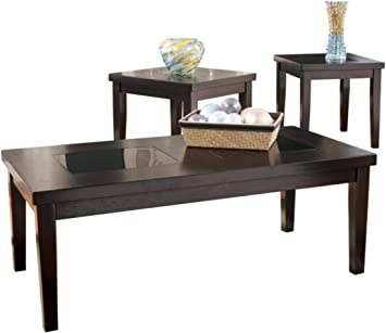 Amazon Com Signature Design By Ashley Denja Occasional Table Set Includes Cocktail Table 2 End Tables Dark Brown Furniture Decor