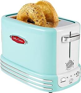 Nostalgia RTOS200AQ Bagel Toaster, 2-Slice, Aqua (Renewed)