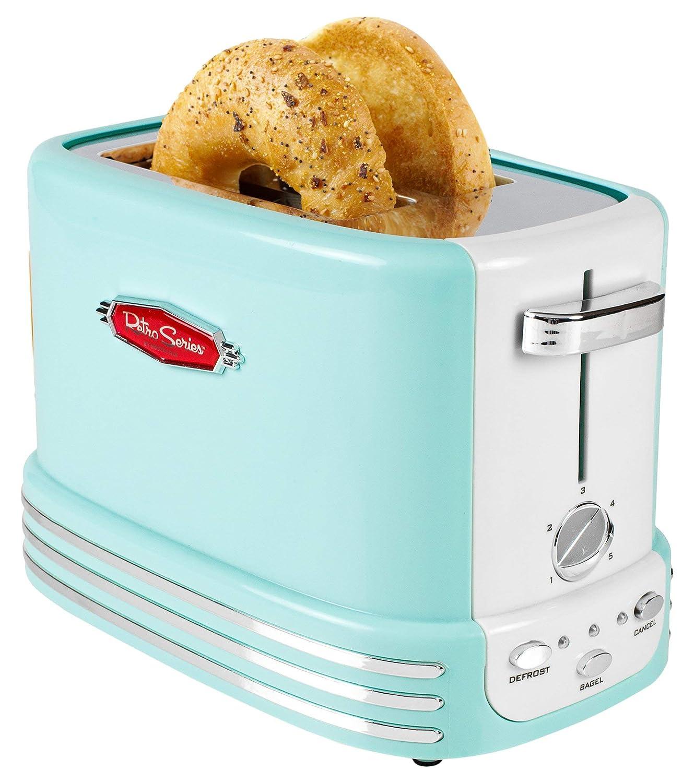 Nostalgia RTOS200AQ Bagel Toaster, 2-Slice, Aqua Renewed
