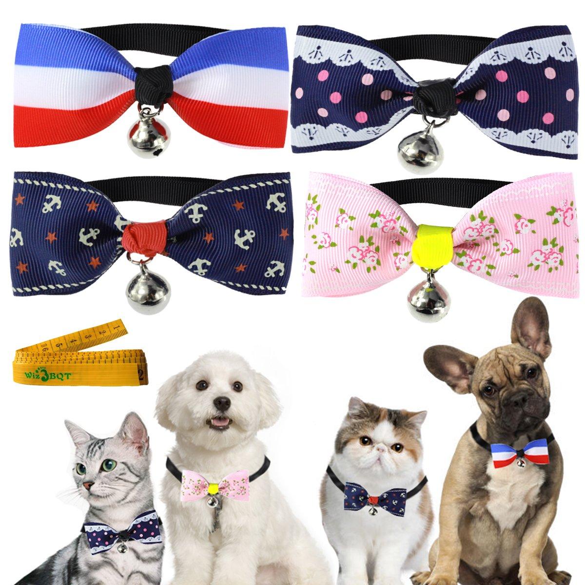 Amazon.com : Pet Cat Dog Rabbit Collar with Bow tie Cloth Bowknot ...