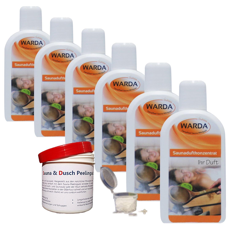 Saunaaufguss-Set 6 x 200 ml Warda Saunaduftkonzentrat (freie Duftwahl) Warda Duftöle
