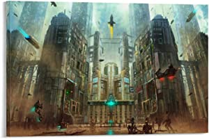 AOKIA Medieval Sci Fi City Canvas Art Poster and Wall Art Picture Print Modern Family Bedroom Decor Posters 12x18inch(30x45cm)