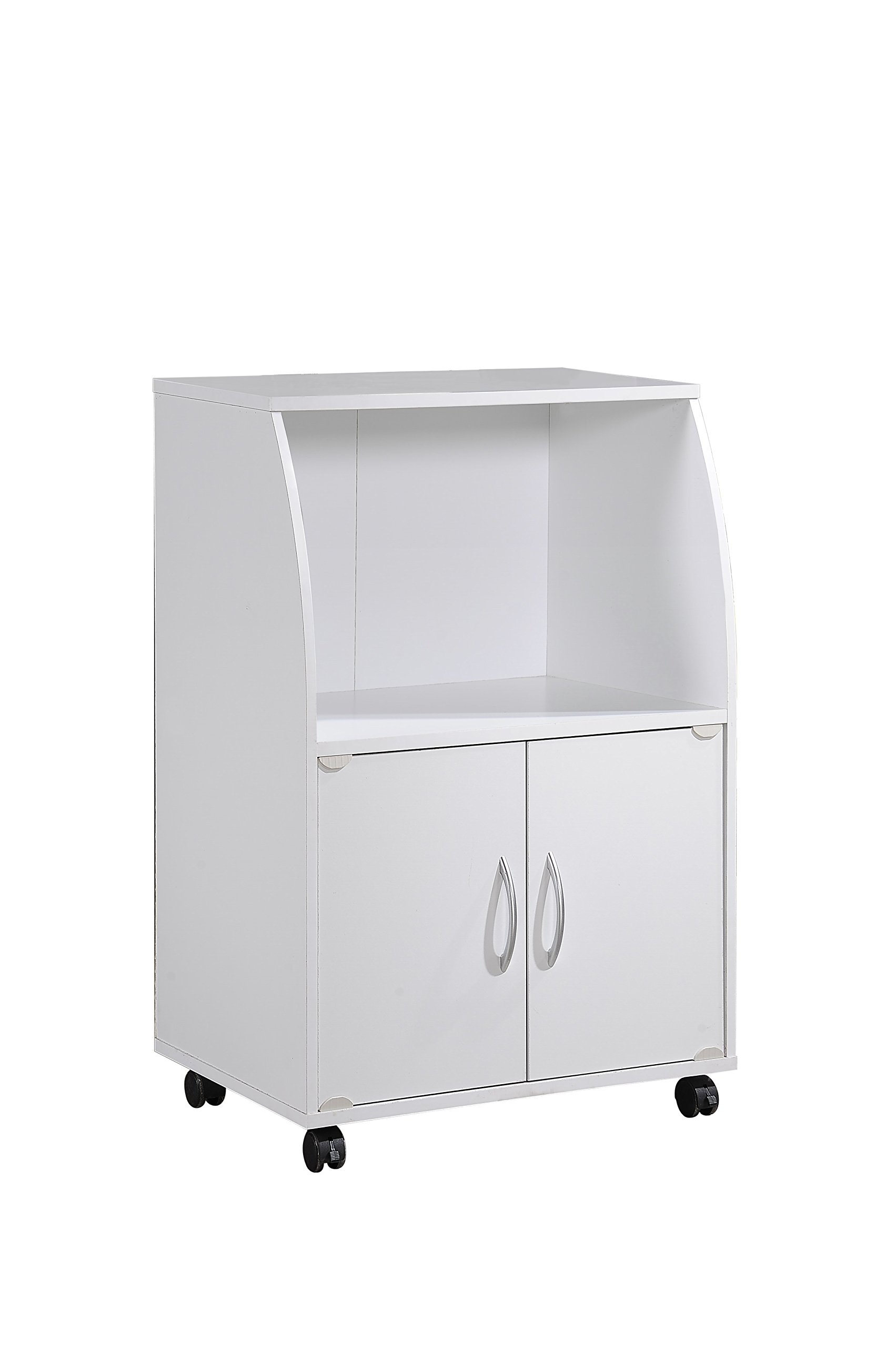 Hodedah Mini Microwave Cart with Two Doors and Shelf for Storage, White by HODEDAH IMPORT