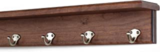 """product image for PegandRail Solid Cherry Shelf Coat Rack with Satin Nickel Single Style Hooks (Mahogany, 21"""" with 4 Hooks)"""