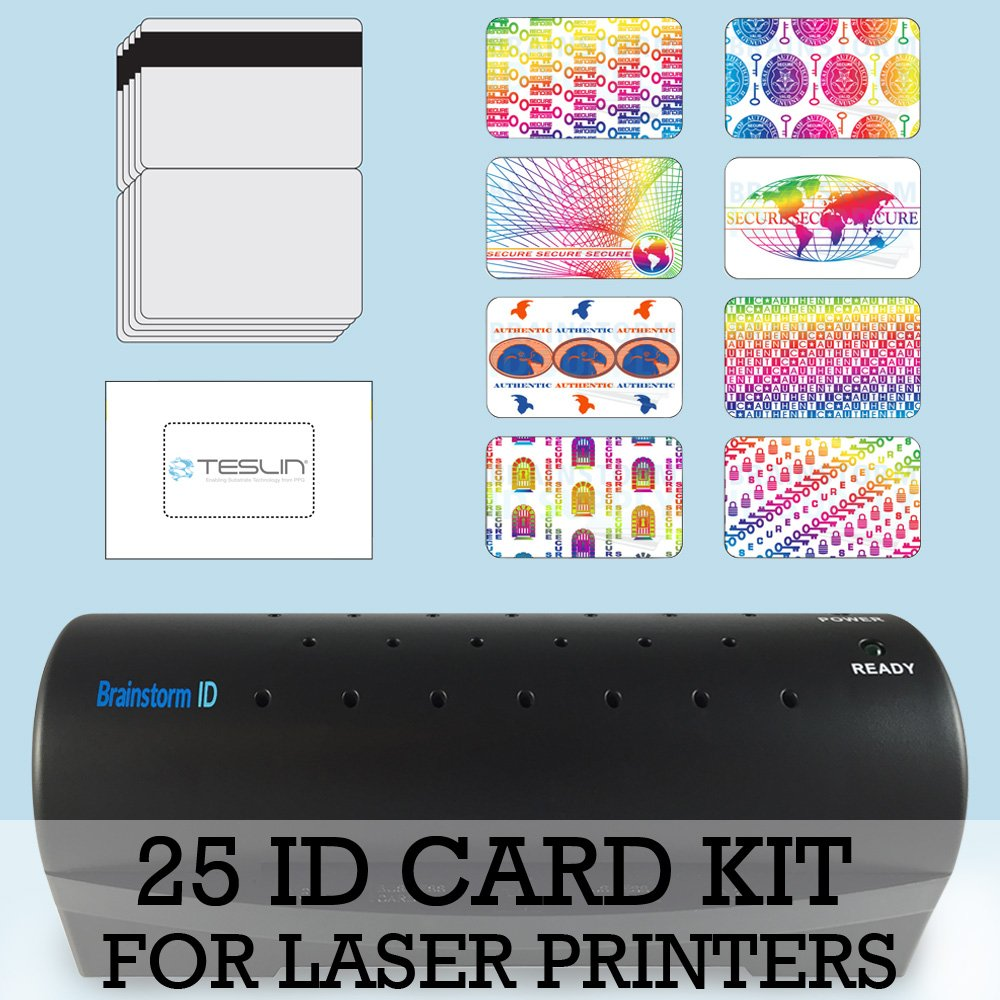 25 ID Card Kit - Laminator, Laser Teslin, Butterfly Pouches, and Holograms - Make PVC Like ID Cards